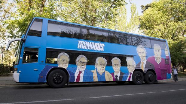 El tramabús de Podemos, en su recorrido por Madrid