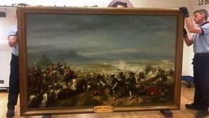 Llegada del cuadro «La batalla de Almansa» a la localidad albaceteña donde estará hasta el 4 de septiembre