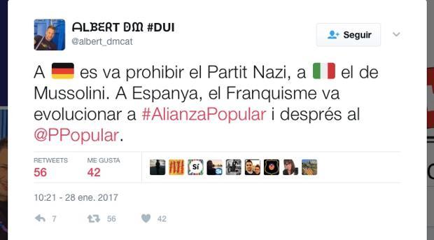 Tuit del agente de los Mossos d'Esquadra Albert Donaire