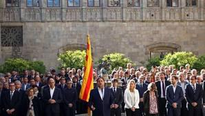 Un momento del acto de esta mañana celebrado en el Pati dels Tarongers del Palau de la Generalitat