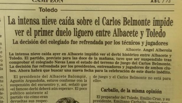 Noticia publicada en ABC el 6/01/1997 sobre la suspensión