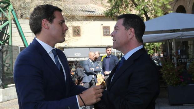 Rivera, con García-Page, en el Palacio Fuensalida