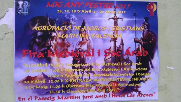 Imagen del cartel del Mig Any Fester de Moros y Cristianos de Marítim