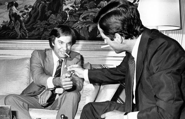 Felipe González y Adolfo Suárez, en una de sus fotos más icónicas, fechada el 25 de junio de 1977