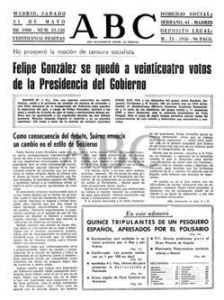 Hemeroteca: Mociones de censura: dos intentos fallidos contra Suárez y González   Autor del artículo: Finanzas.com