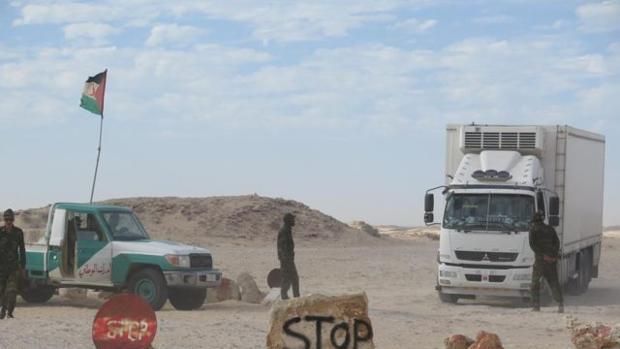 Puesto de control del Polisario en Guerguerat, al norte de Mauritania