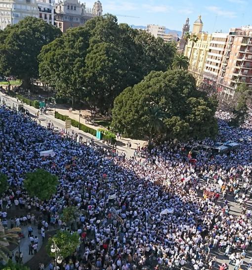 Imagen de la protesta en el centro de Valencia