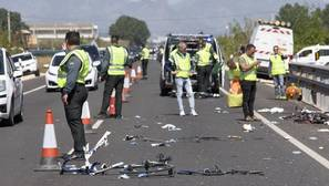Imagen del accidente registrado este domingo en Oliva