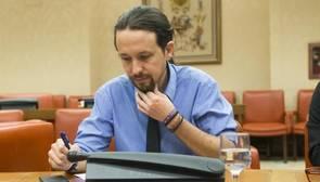 Pablo Iglesias, este miércoles, en el Congreso de los Diputados