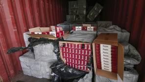 Imagen de partte del cargamento de tabaco confiscado