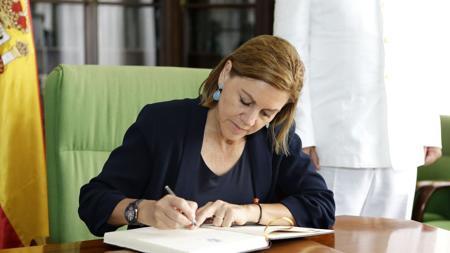La ministra de Defensa, este jueves, en la Base Naval de Las Palmas