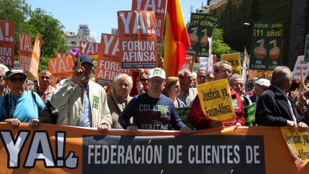 Manifestación de los afectados de Afinsa y Fórum
