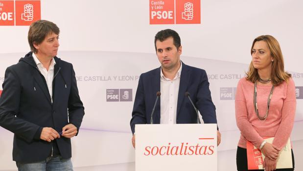 Carlos Martínez, Luis Tudanca y Virginia Barcones, en una imagen de archivo en la sede del PSOE