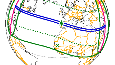 El eclipse del 29 de julio de 1478 sí se pudo ver desde Canarias. La línea punteada señala zonas donde la ocultación del disco solar pudo ser del 50%.
