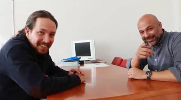 Pablo Iglesias y José García Molina durante el vídeo en el que hablan sobre el Plan de Podemos para Castilla-La Mancha