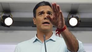 El ex secretario general del PSOE y candidato a la reelección, Pedro Sánchez, durante su comparecencia tras el debate en el que los tres candidatos a la Secretaría General del partido