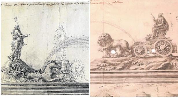 Los planos que diseñó Ventura Rodríguez para elaborar las fuentes de Neptuno (a la izquierda) y la diosa Cibeles