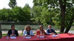 Francisco Pérez (alcalde de Sacedón), Cristina Moreno (Aranjuez), Milagros Tolón (Toledo) y Jaime Ramos (Talavera)