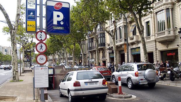Entrada a un parking subterráneo en el centro de Barcelona