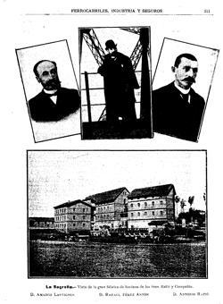 """Página de """"Revista Ilustrada de Banca, Ferrocarriles, Industrias y Seguros"""" dedicada a la factoría """"La Sagreña"""" en 1899"""
