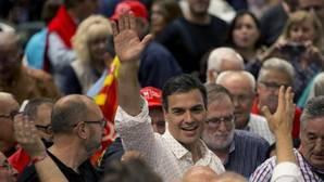 Pedro Sánchez el pasado jueves en un acto con militantes en la provincia de Barcelona