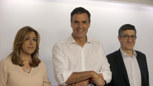 Susana Díaz, Pedro Sánchez y Patxi López, tras conocerse la victoria de Sánchez