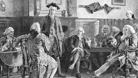 Cuandro de un club de fumadores en Londres a mediados de 1700