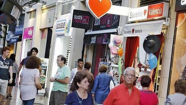 Imagen de una zona comercial del centro de Valencia