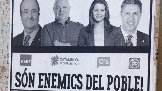 Cartel señalando a los líderes del pSC, CSQP, Cs y PP