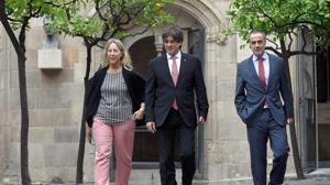 Junqueras y Puigdemont, en una imagen tomada en el Parlament