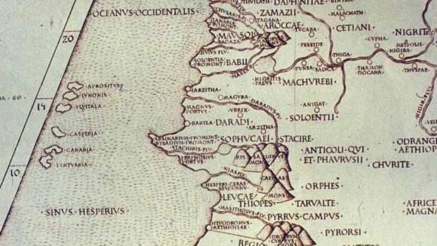 Canarias en el mapa de Ptolomeo, siglo I A. C.