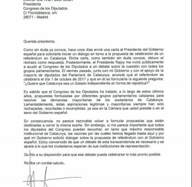 Puigdemont pide a Pastor comparecer en el Congreso para explicar el referéndum