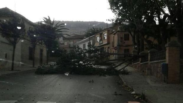 Imagen de una calle de Los Yébenes el jueves 15 de junio tras la tormenta