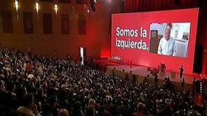 Felipe González durante su saludo grabado en vídeo desde Colombia