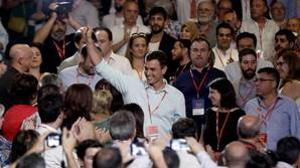 Pedro Sánchez a su llegada al 39º Congreso Federal del PSOE
