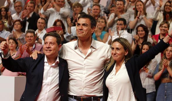 Page, Sánchez y Tolón, en la campaña de electoral de 2015