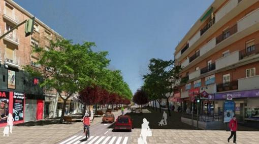 Rcreación de la calle de Alcalá, a la altura del barrio de Quintana, tras la reforma