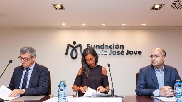 Los responsables del acuerdo durante la presentación del proyecto