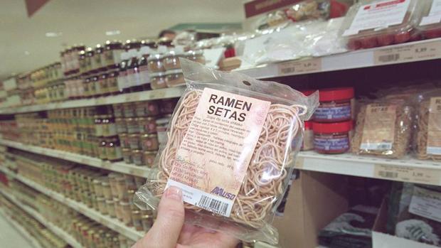 Sobre de sopa de setas oriental, en un establecimiento de los denominados ecológicos