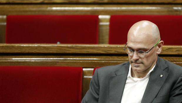 El consejero de «exteriores» catalán Raül Romeva en el Parlament de Cataluña