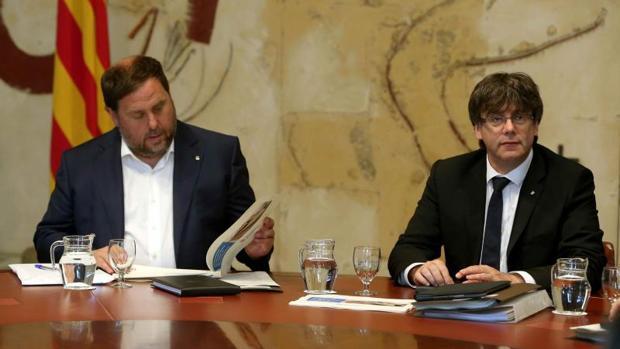 Junqueras y Puigdemont, en la reunión del ejecutivo autonómico de esta semana