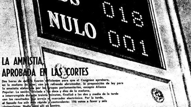 Portada de ABC del 15 de octubre de 1977 en la que se muestra la aprobación de la Ley de Amnistía