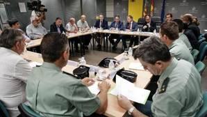 Responsables de seguridad, en la reunión con el director de la DGT y el delegado del Gobierno en la Comunidad Valenciana, este lunes