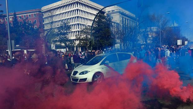 Imagen de una huelga anterior de taxis, en el centro de Madrid