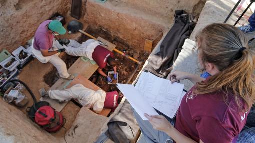 Vista de los trabajos en el cementerio de Paterna, donde se encuentran restos de personas fusiladas en el franquismo