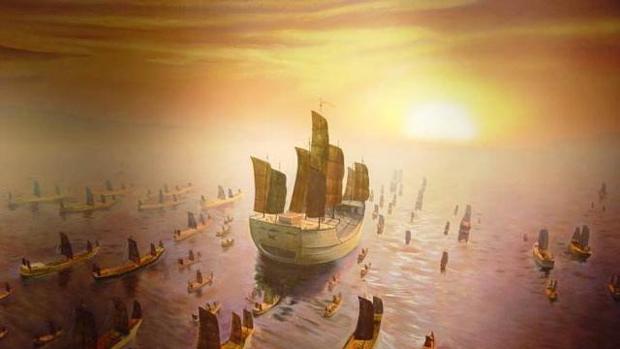 Recreación de la flota china en 1421 y que trasladaba a 30.000 tripulantes