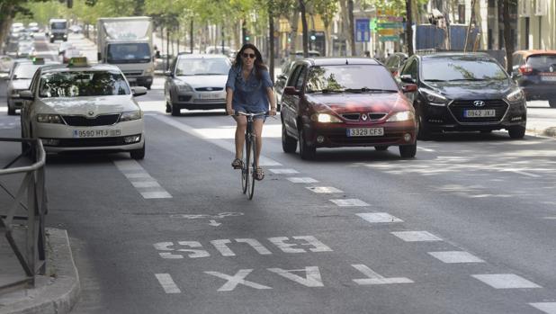 Una ciclista circula por el carril bus/taxi, en la calle de Sagasta