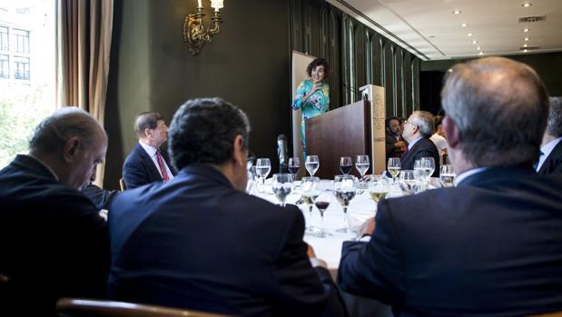 Montserrat, durante su intervención de este mediodía en Barcelona