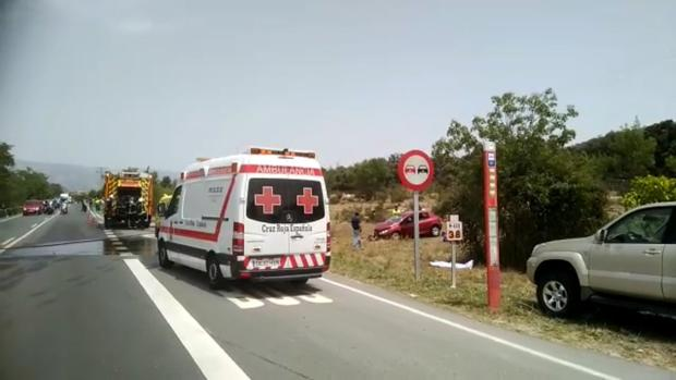 Bomberos y servicios sanitarios en el lugar del accidente