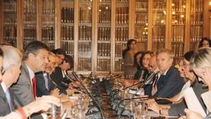 Alfonso Rueda durante la reunión con el Minstro de Justicia Rafael Catalá